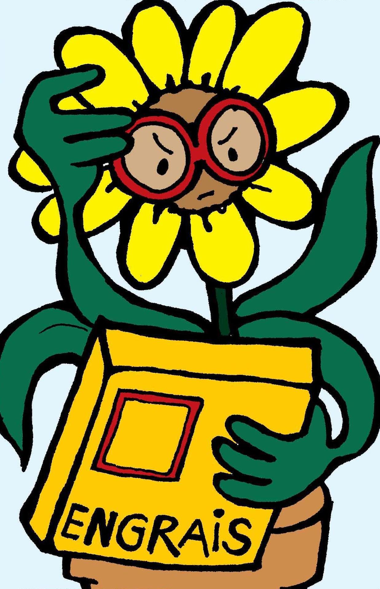 Fleur qui tient une boîte d'engrais dans sa feuillet et essaie de lire l'étiquette.