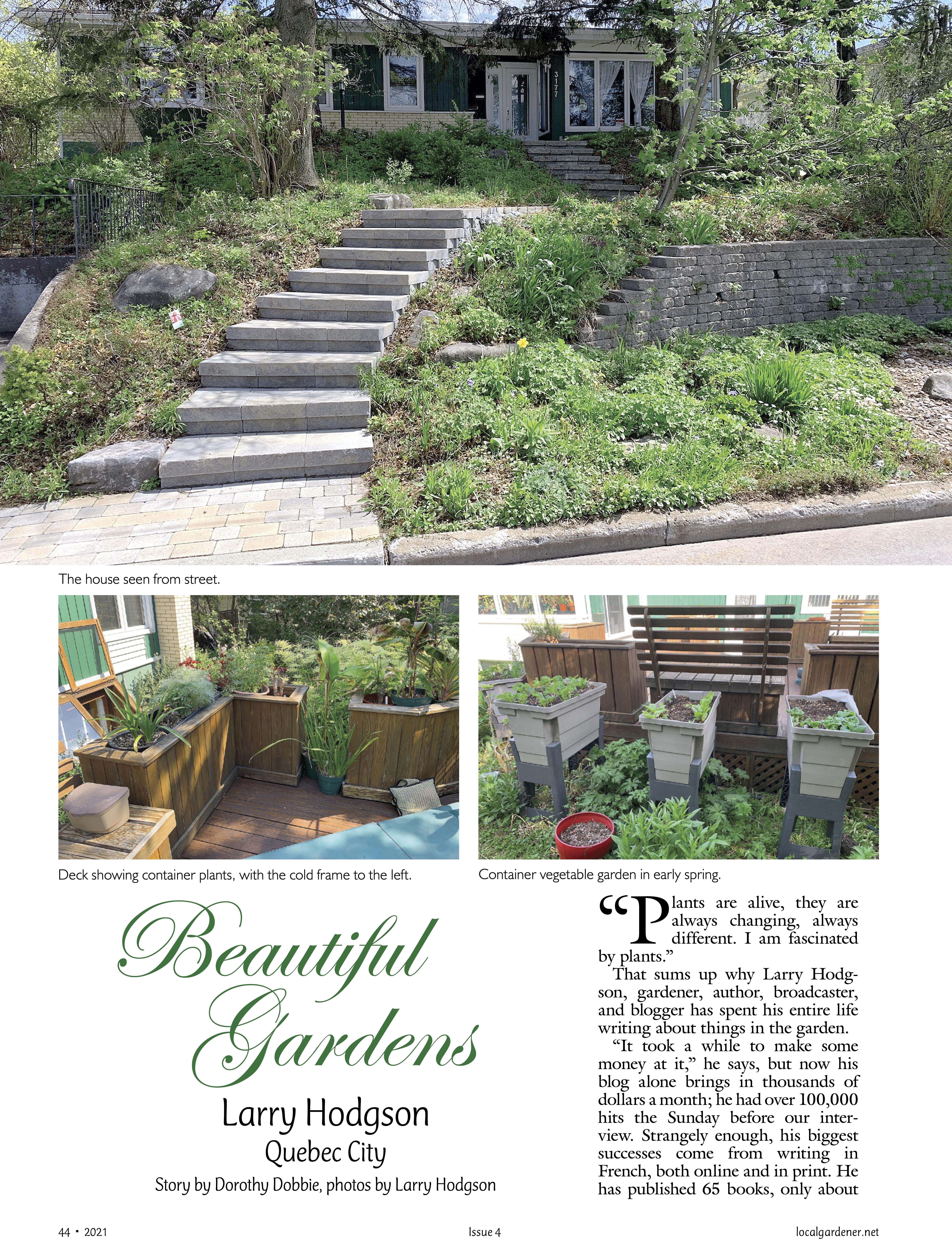 Première page de l'article sur le jardin de Larry Hodgson.