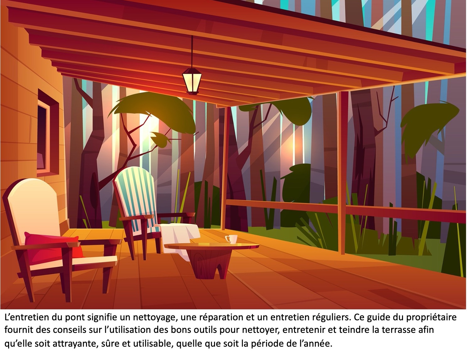 Terrasse en bois avec un toit et des meubles de jardin.